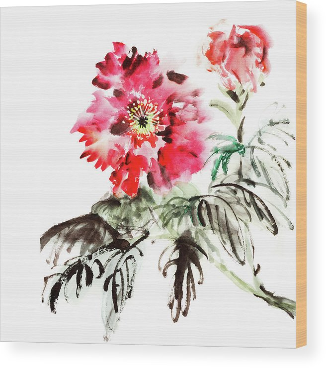 Chinese Culture Wood Print featuring the digital art Paeonia Flowers by Vii-photo