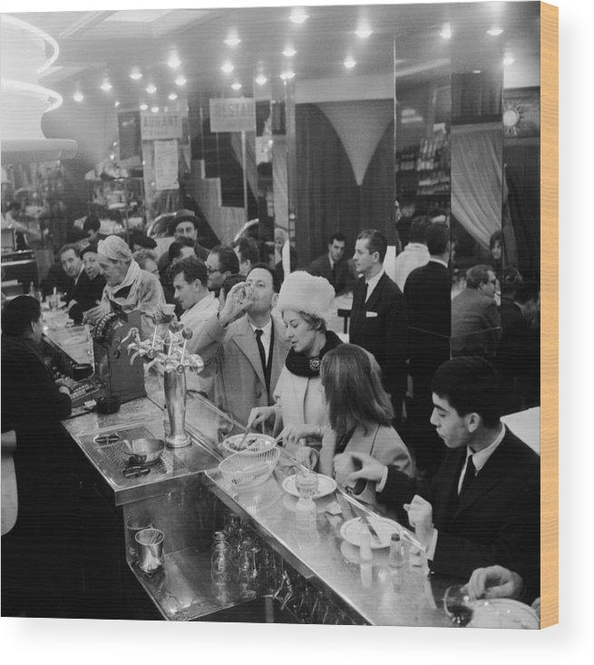 1950-1959 Wood Print featuring the photograph Paris Cafe by Three Lions