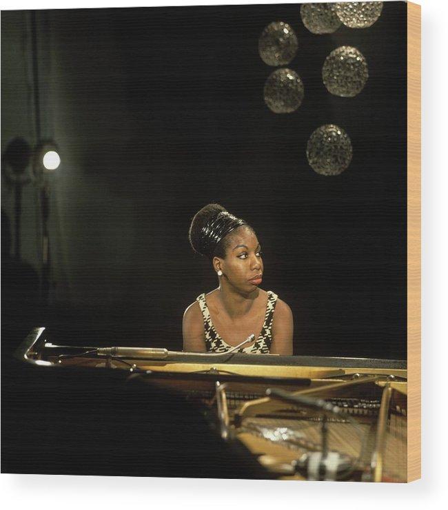 Nina Simone Wood Print featuring the photograph Photo Of Nina Simone by David Redfern