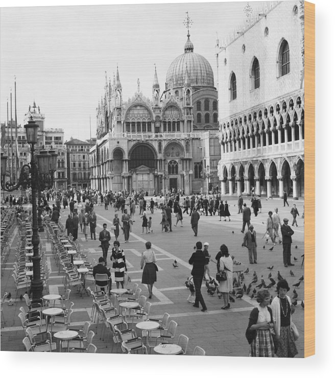 People Wood Print featuring the photograph Place, San Marco Place At Venise In by Keystone-france