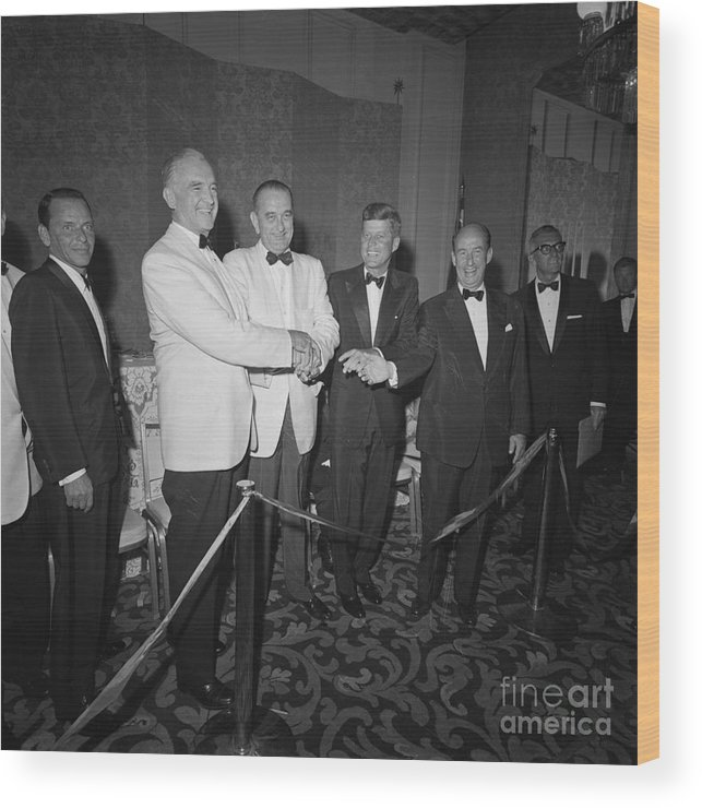 Adlai Stevenson Ii Wood Print featuring the photograph Presidential Candidates Shaking Hands by Bettmann