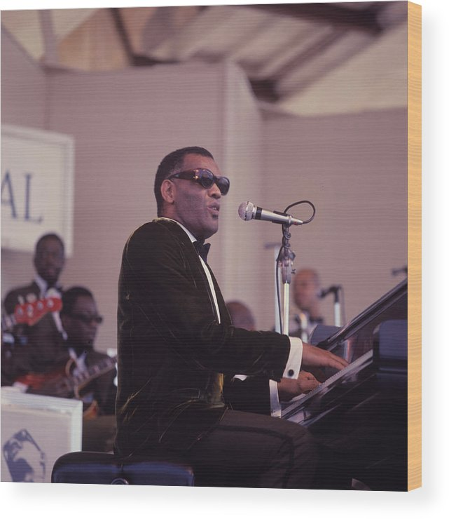 Singer Wood Print featuring the photograph Ray Charles Performs At Newport by David Redfern