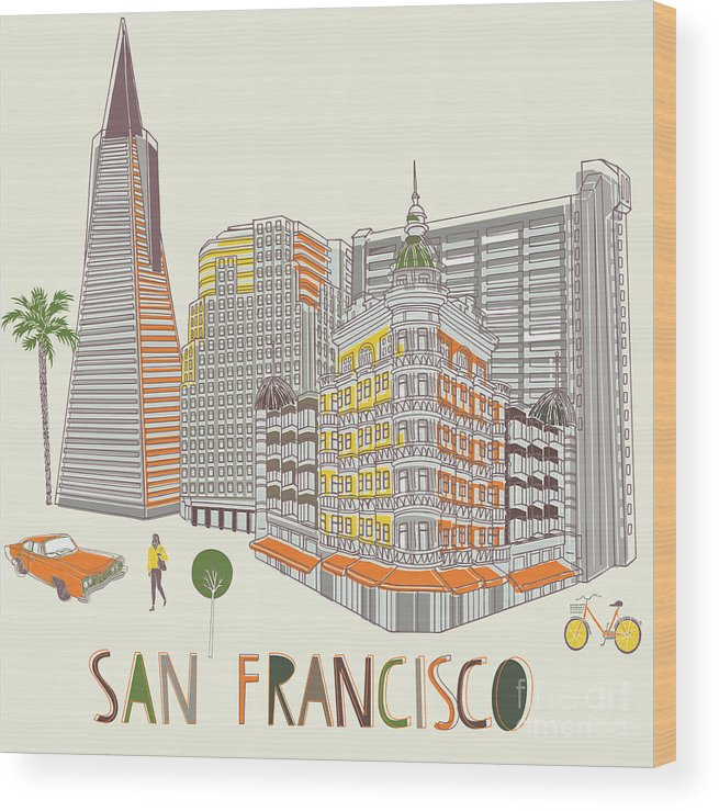 Sunrise Wood Print featuring the digital art San Francisco Print Design by Lavandaart