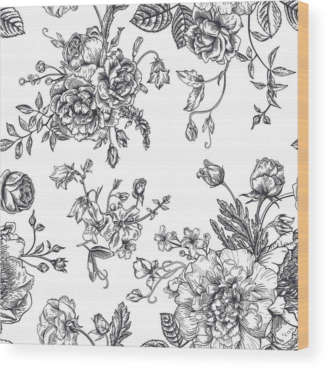 Art Wood Print featuring the digital art Seamless Pattern With Bouquet Of by Nata slavetskaya