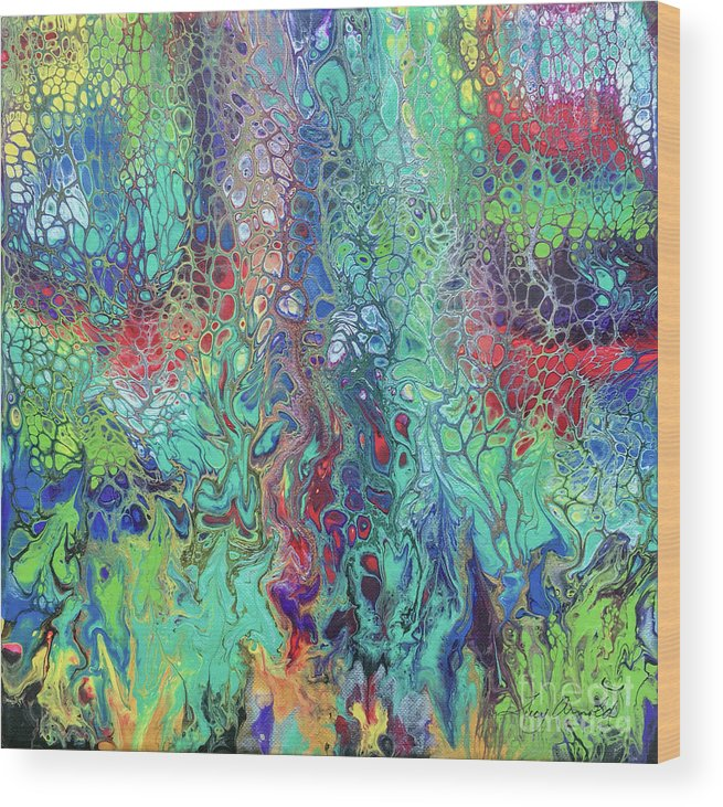 Poured Acrylic Wood Print featuring the painting Spring Rush by Lucy Arnold
