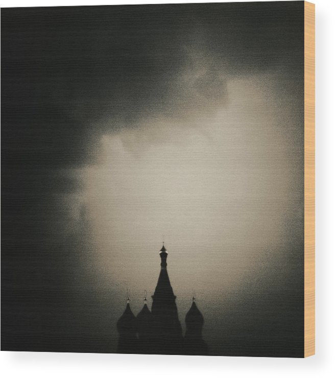 Red Square Wood Print featuring the photograph St. Basils Cathedral by Mel Curtis