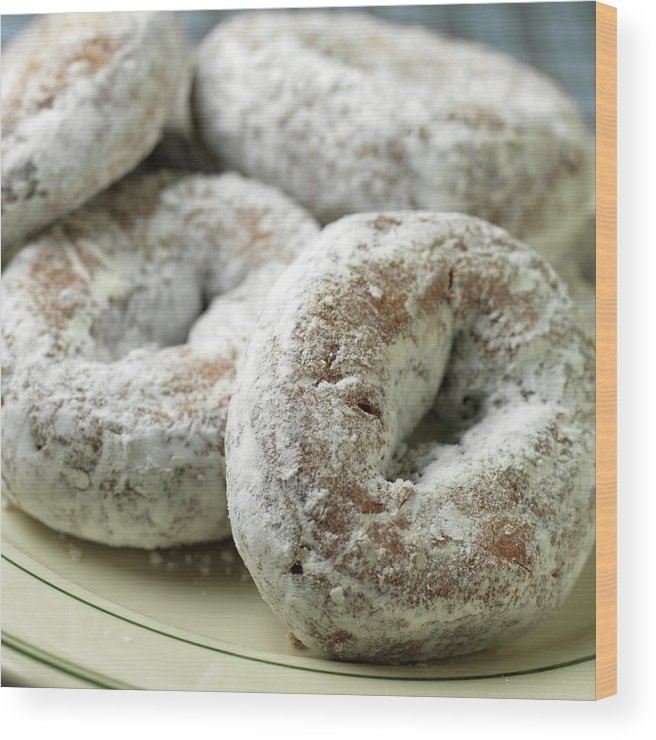 Unhealthy Eating Wood Print featuring the photograph Sugar Doughnuts by Brian Yarvin