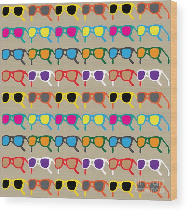 Country Wood Print featuring the digital art Sun Glasses Pattern by Leo Brazil