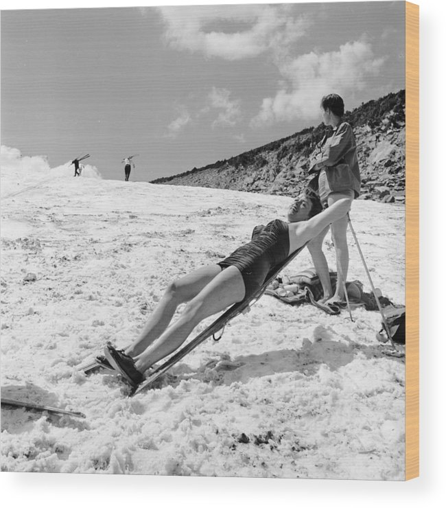 Skiing Wood Print featuring the photograph Sunbathing Skier by Don
