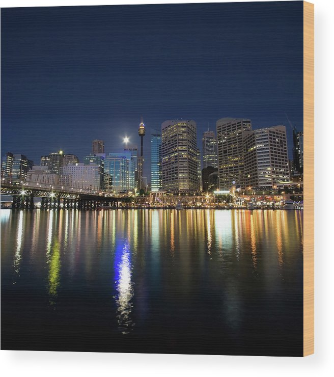 Scenics Wood Print featuring the photograph Sydney Darling Harbour Twilight by Matejay