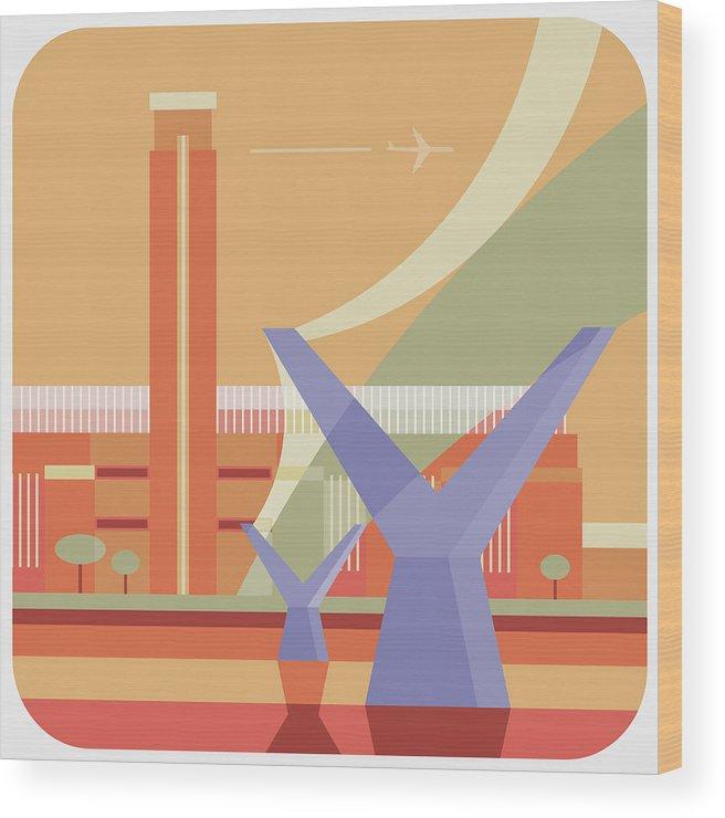 London Millennium Footbridge Wood Print featuring the digital art Tate Gallery And Millennium Bridge by Nigel Sandor