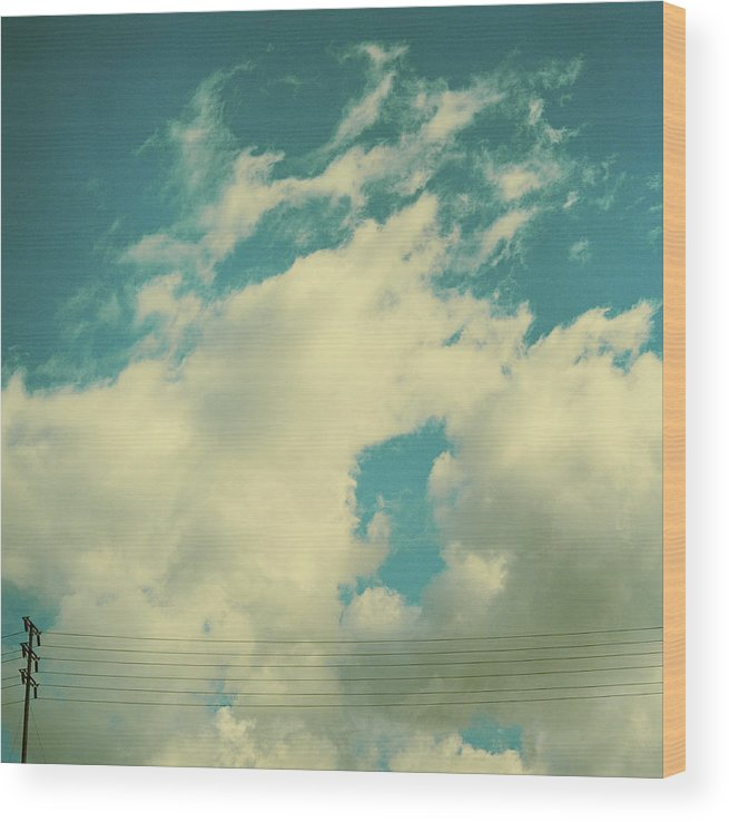 Telephone Line Wood Print featuring the photograph Telephone Lines Against Cloudy Blue Sky by Zen Sekizawa