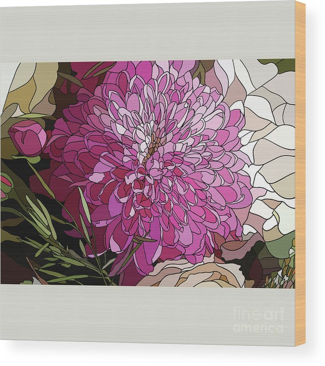 Chrysanthemum Wood Print featuring the digital art The Chrysanthemum Flower In The Style by Sirina85