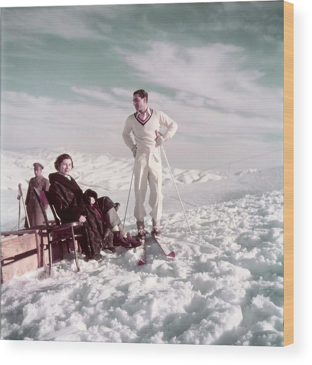 Skiing Wood Print featuring the photograph The Shah & Wife Skiing by Dmitri Kessel