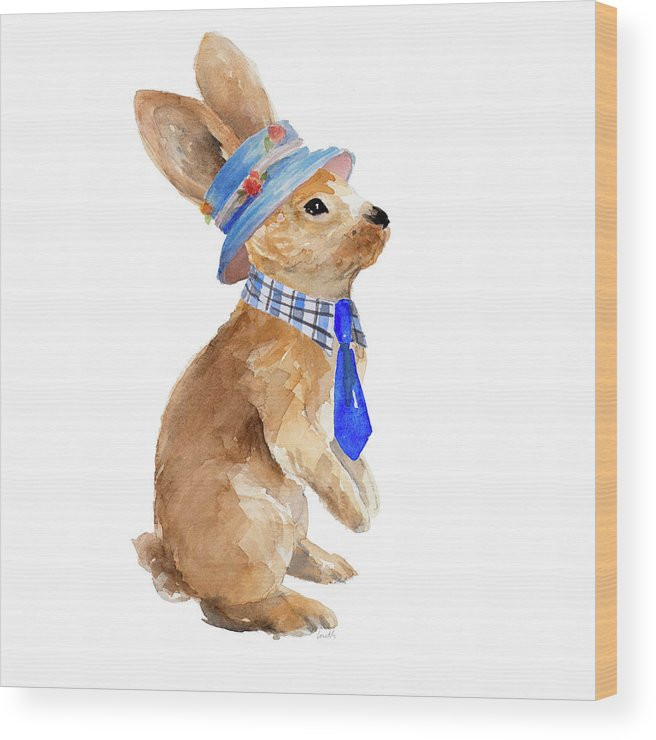 Trendy Wood Print featuring the painting Trendy Meadow Buddy I (tie) by Lanie Loreth