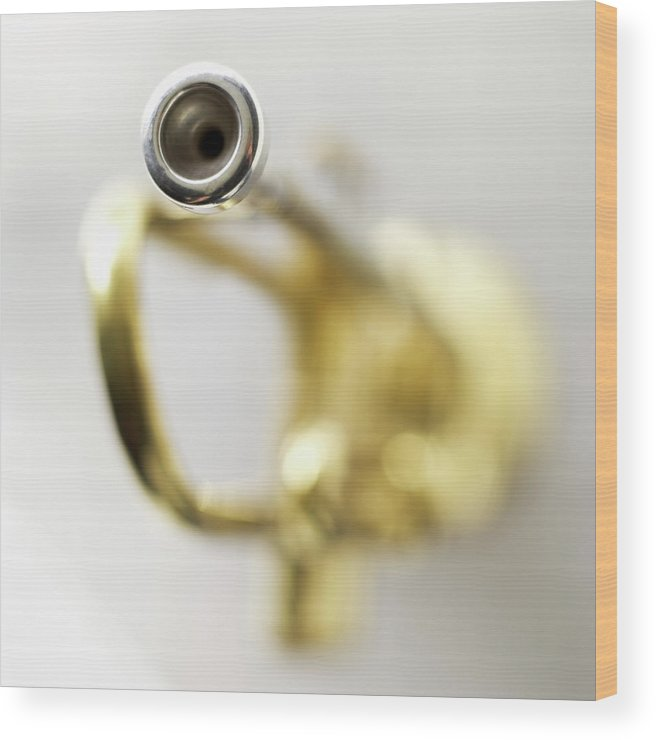 White Background Wood Print featuring the photograph Trumpet, Focus On Mouth Piece by Stockbyte