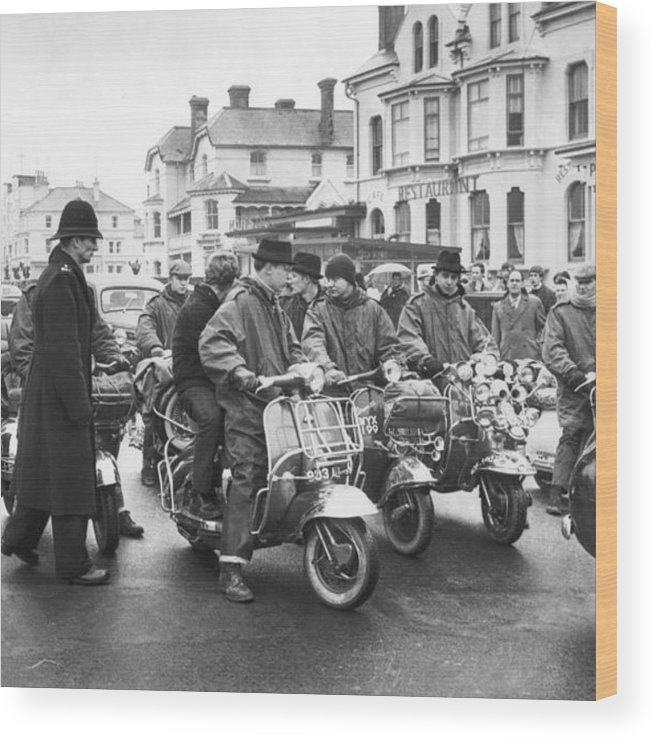 Crowd Wood Print featuring the photograph We Are The Mods by Terry Disney