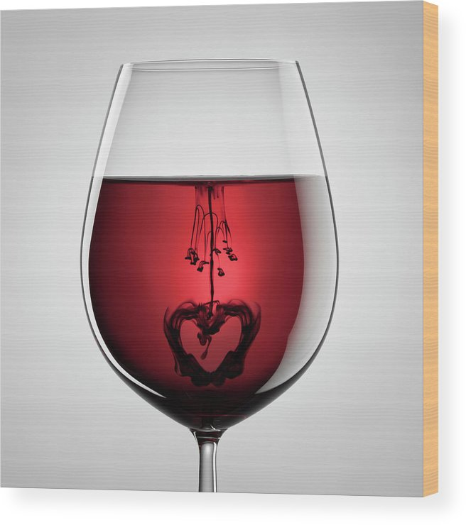 Mixing Wood Print featuring the photograph Wineglass, Red Wine, Black Ink And by Thomasvogel