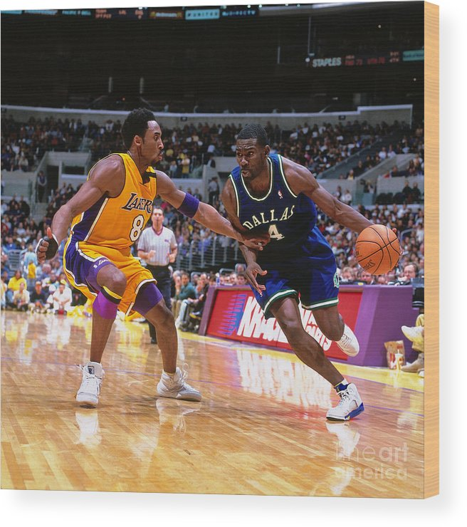 Nba Pro Basketball Wood Print featuring the photograph Michael Finley and Kobe Bryant by Robert Mora