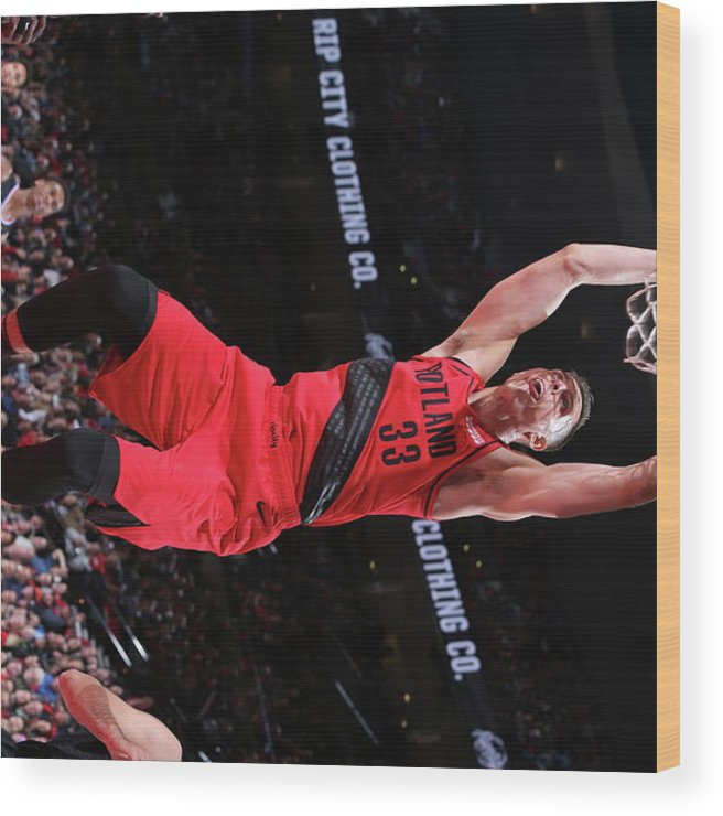 Nba Pro Basketball Wood Print featuring the photograph Zach Collins by Sam Forencich