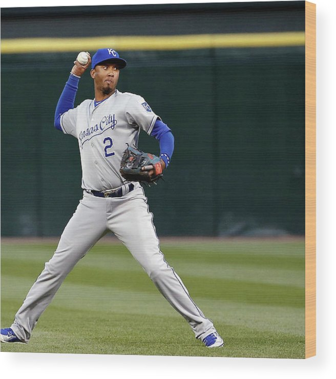 Second Inning Wood Print featuring the photograph Alcides Escobar by Jon Durr