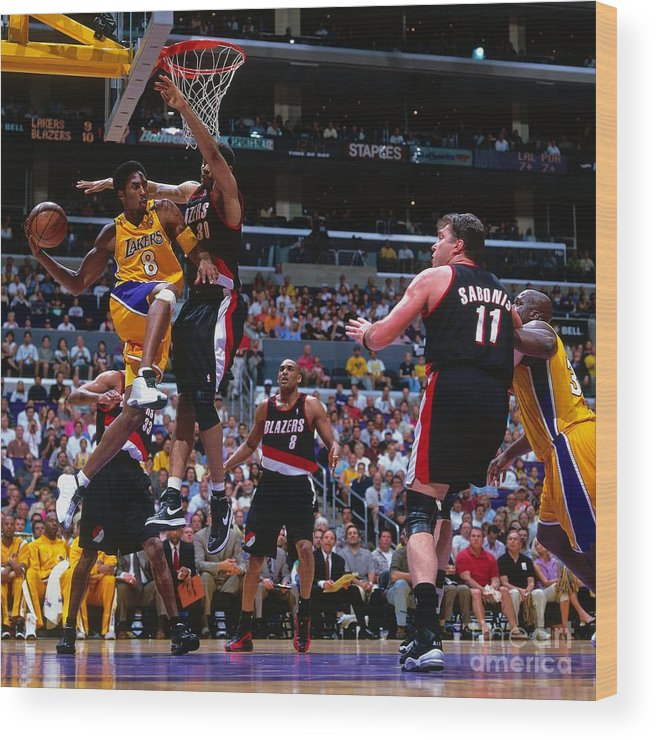 Playoffs Wood Print featuring the photograph Arvydas Sabonis, Kobe Bryant, and Rasheed Wallace by Andrew D. Bernstein
