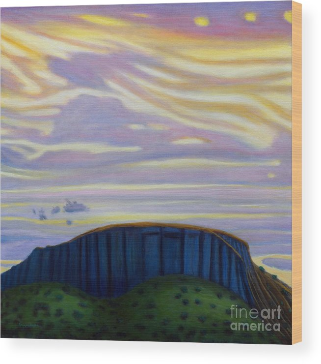Black Mesa Wood Print featuring the painting Black Mesa by Brian Commerford