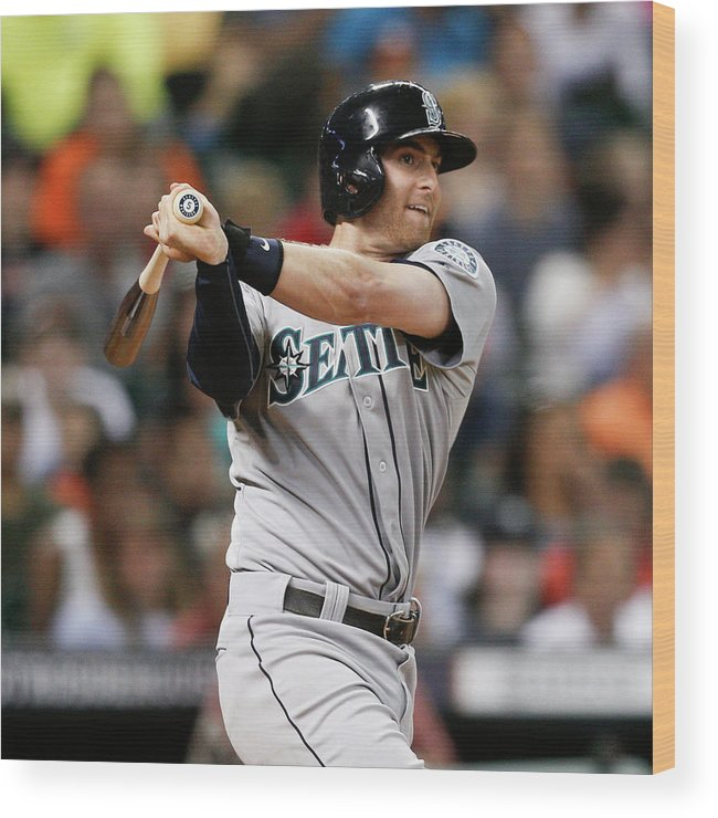 American League Baseball Wood Print featuring the photograph Brad Miller by Bob Levey
