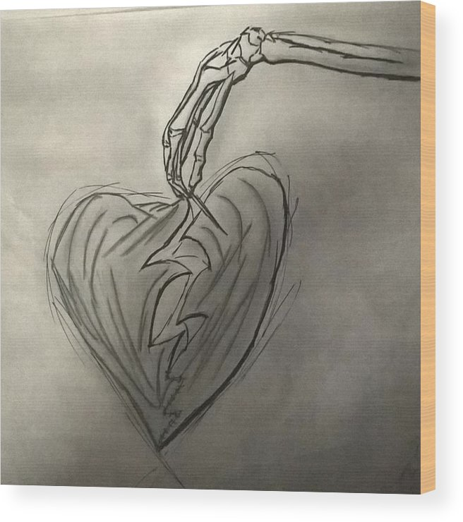 Drawing Wood Print featuring the photograph Broken Heart Mended by Ariana Torralba