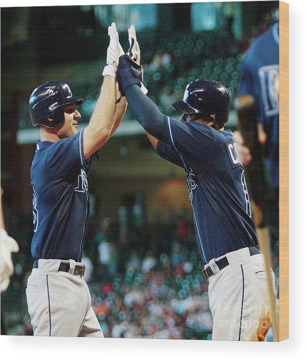 Minute Maid Park Wood Print featuring the photograph Carl Crawford and John Jaso by Bob Levey