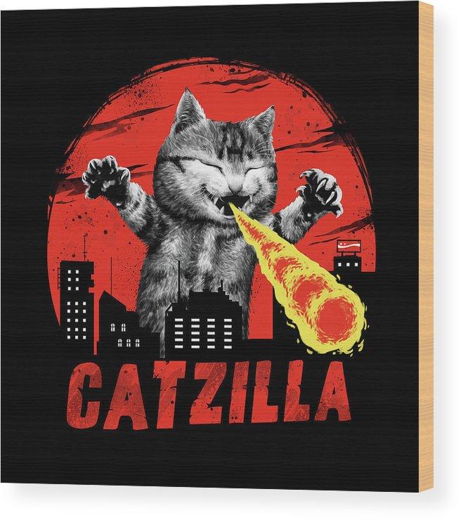 Cat Wood Print featuring the digital art Catzilla by Vincent Trinidad