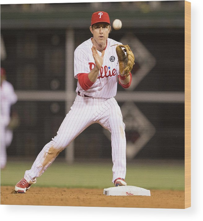 Double Play Wood Print featuring the photograph Chase Utley by Mitchell Leff