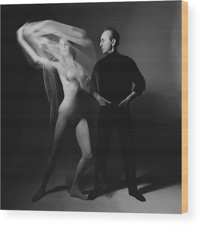 Dance Wood Print featuring the photograph George Balanchine and Suzanne Farrell in Don Quixote by Bert Stern