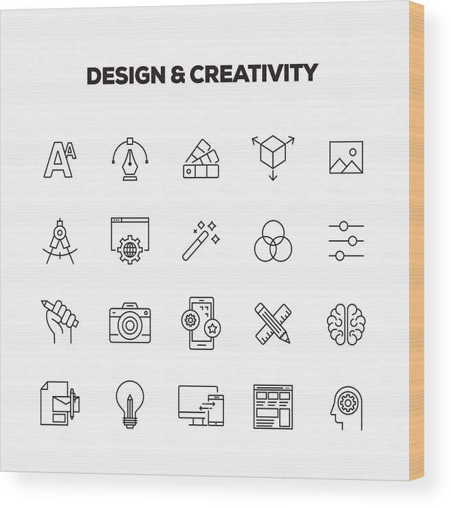 Corporate Business Wood Print featuring the drawing Design And Creativity Line Icons Set by Cnythzl