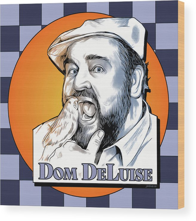 Dom Deluise Wood Print featuring the digital art Dom and the Bird by Greg Joens