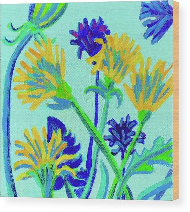 Flowers Wood Print featuring the painting Enchanted with Dandelions by Debra Bretton Robinson
