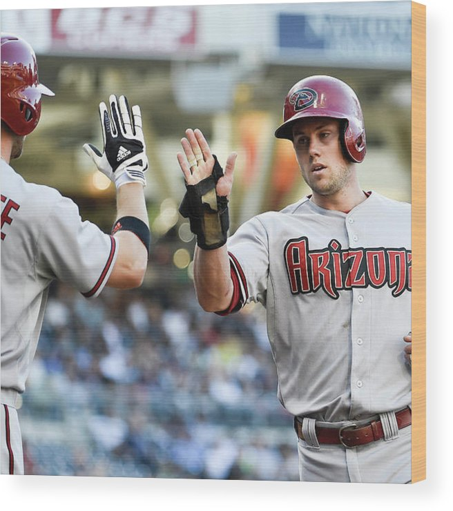 Second Inning Wood Print featuring the photograph Ender Inciarte and Chris Owings by Denis Poroy