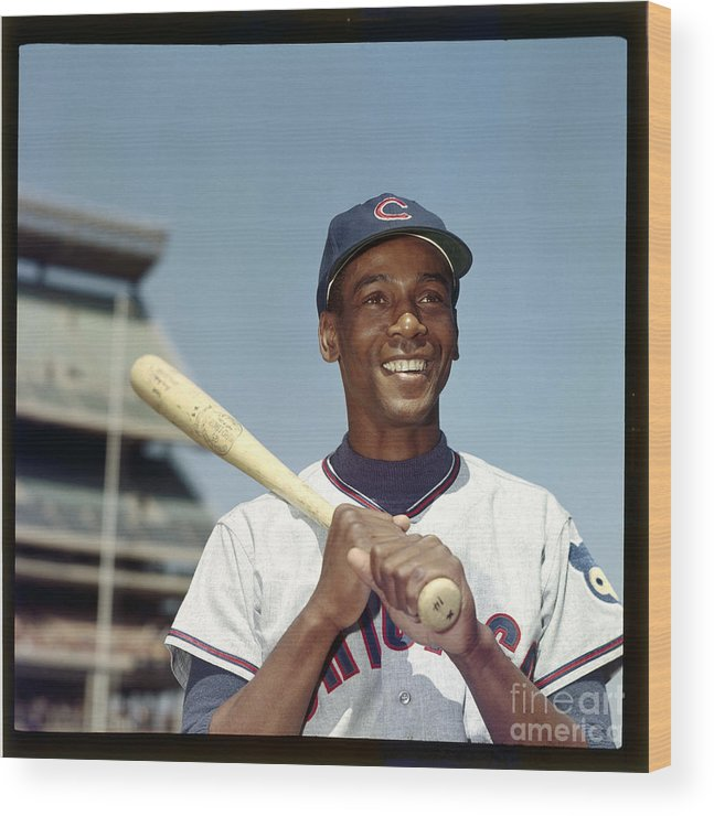 People Wood Print featuring the photograph Ernie Banks by Louis Requena