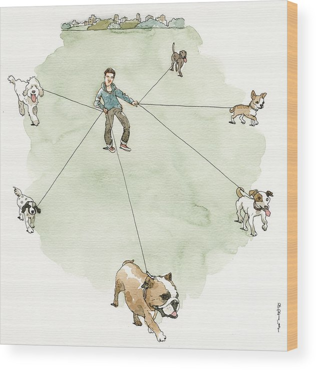Captionless Wood Print featuring the painting Four Paws Six Feet by Barry Blitt
