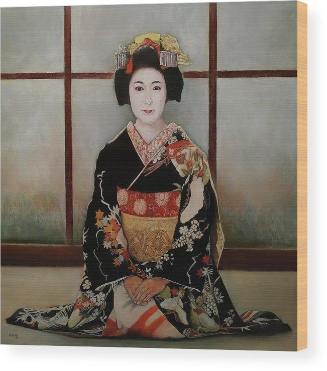 Geisha Wood Print featuring the painting Geisha by Tomas Castano