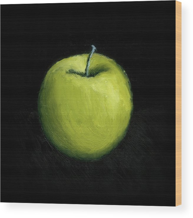 Apple Wood Print featuring the painting Green Apple Still Life by Michelle Calkins