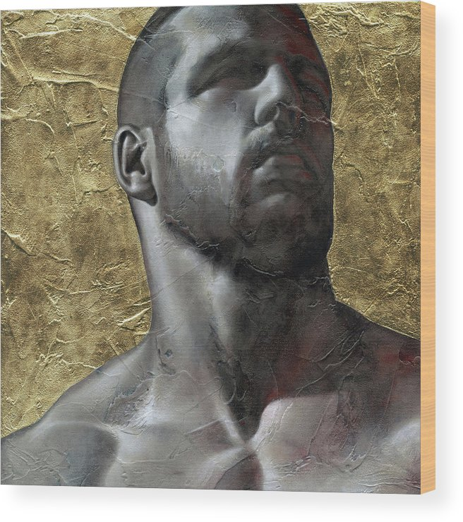 Male Wood Print featuring the painting Here Comes The Sun by Chris Lopez