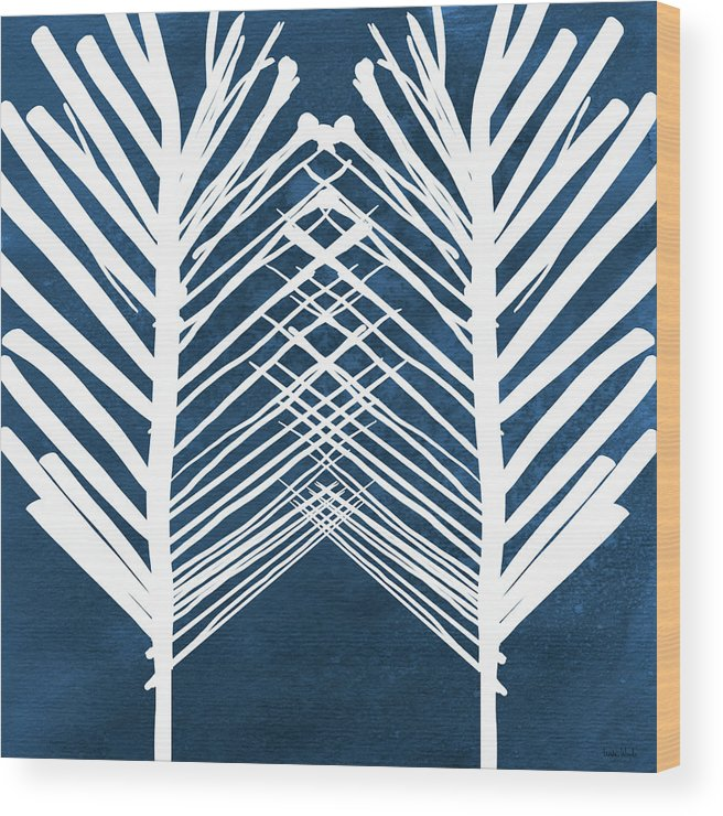 Leaves Wood Print featuring the painting Indigo and White Leaves- Abstract Art by Linda Woods