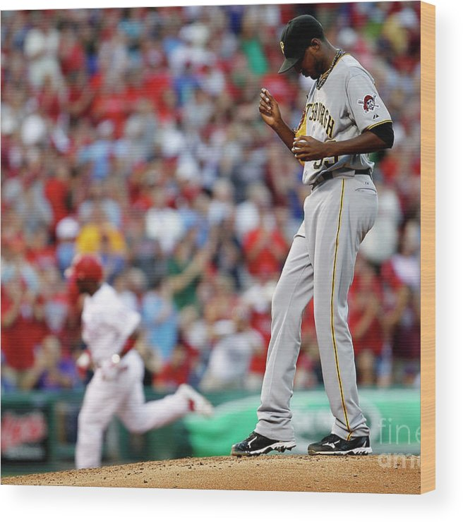 People Wood Print featuring the photograph James Mcdonald and Jimmy Rollins by Jeff Zelevansky