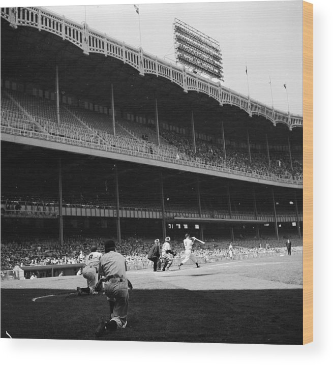 Motion Wood Print featuring the photograph Joe Dimaggio and Yogi Berra by Douglas Grundy