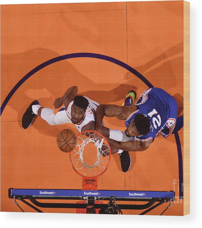 Nba Pro Basketball Wood Print featuring the photograph Joel Embiid by Barry Gossage