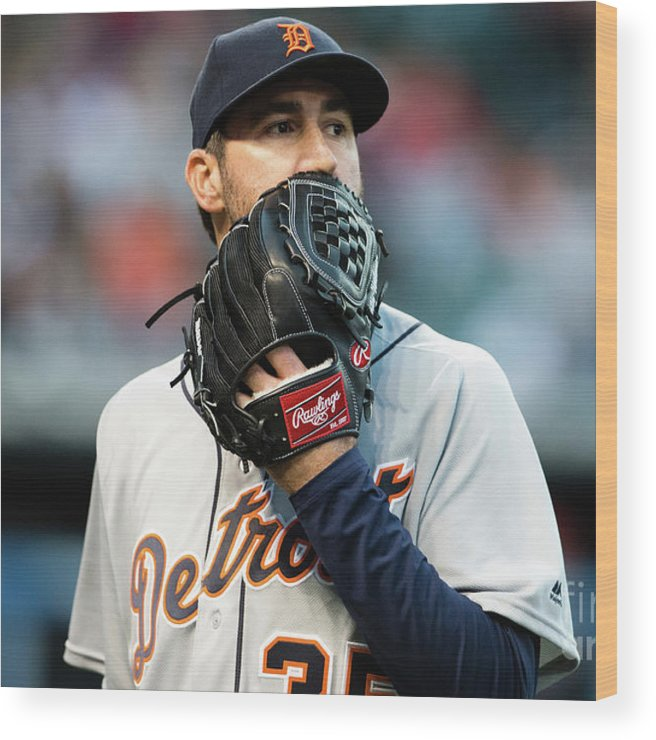 People Wood Print featuring the photograph Justin Verlander and Francisco Lindor by Jason Miller