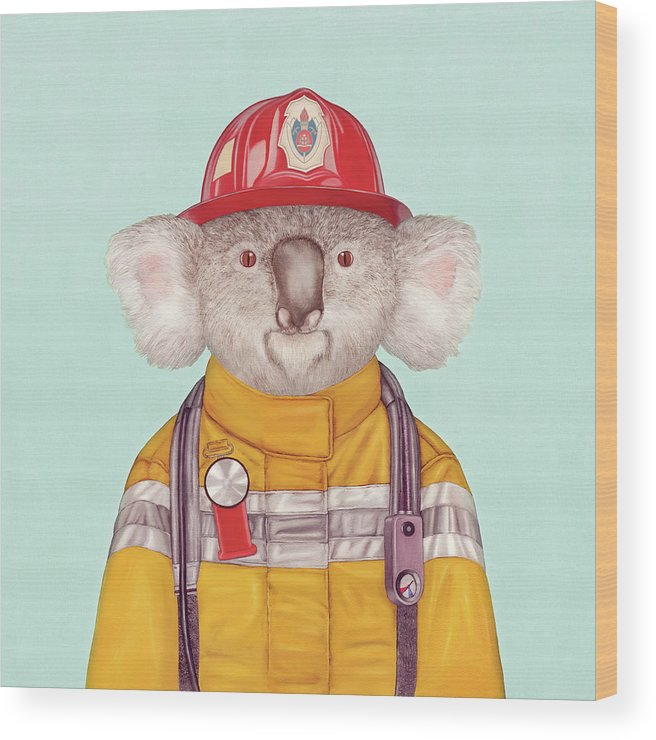 Wood Print featuring the painting Koala Firefighter by Animal Crew