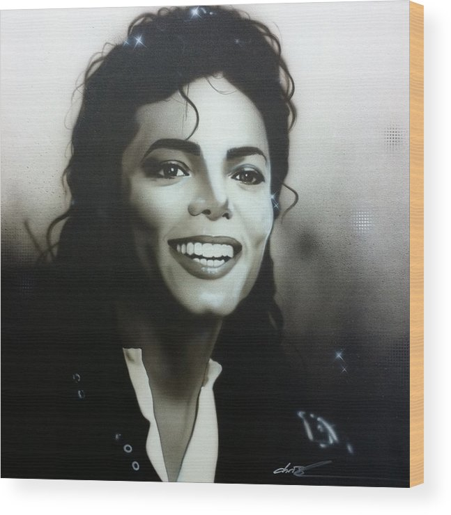 Michael Jackson Wood Print featuring the painting M. J. by Christian Chapman Art
