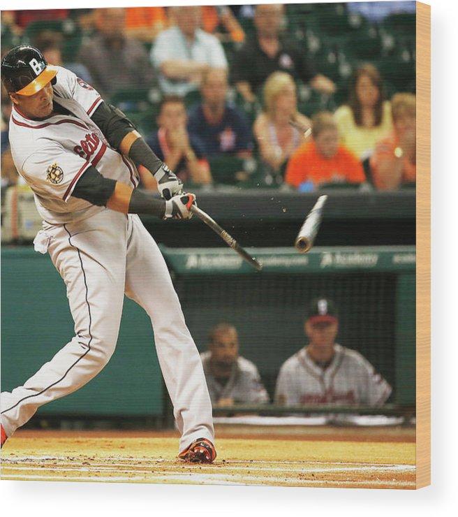 American League Baseball Wood Print featuring the photograph Nelson Cruz by Scott Halleran